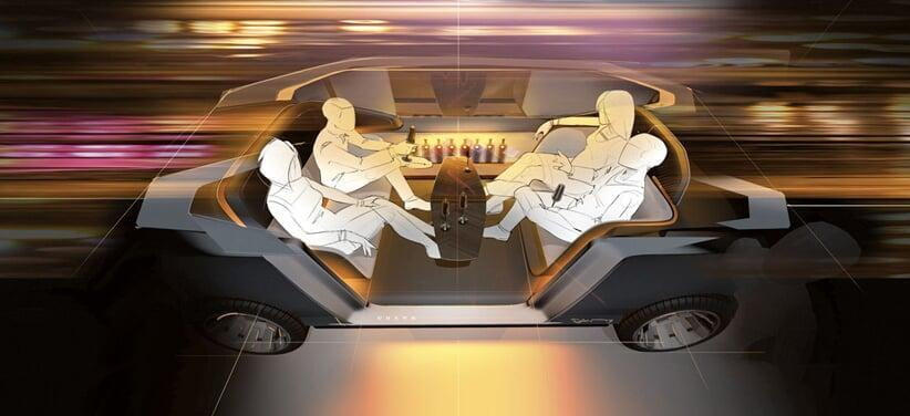 four passengers in a sketch of the interior of an autonomous car