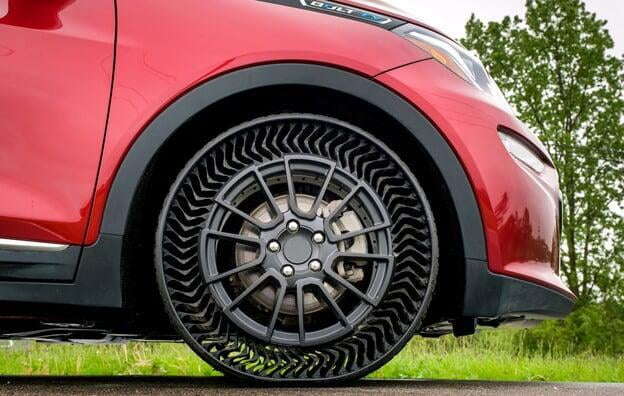 Michelin puncture-proof tyre on a red car